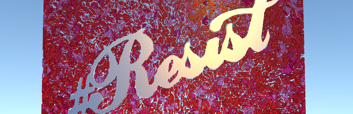 Script that says Resist against a backdrop of swirls