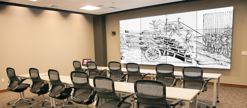The Digital Scholarship Lab at Brown University Library, with a 16 by 7 foot display wall